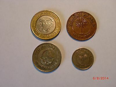 - BAHRAIN -  4  OLD & COINS - 10,25,50 &100 FILS - 1965-1995 -ALL DIFFERENT# 5EO