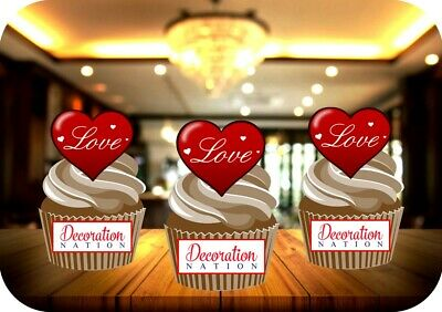 NOVELTY RED LOVE HEART 12 STAND UP Edible Image Cake Toppers birthday valentines