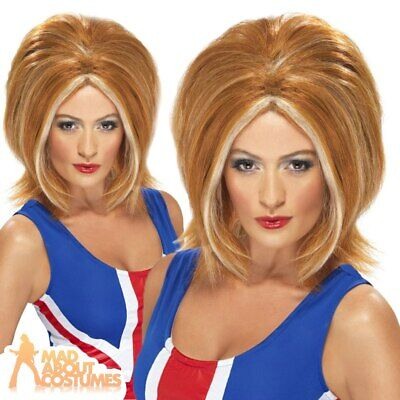Adult Ladies Ginger Spice Girl Wig Geri Halliwell 90s Pop Star Girl Band New