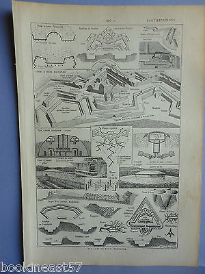 Ancienne Planche Illustree 1923 : Fortifications