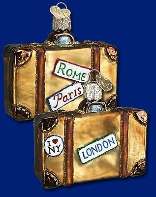 """""""Suitcase"""" (32105) Old World Christmas Glass Ornament"""