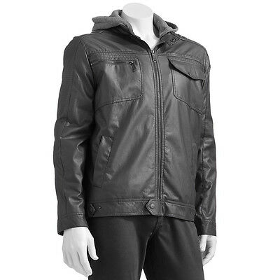 New Urban Republic Men's Faux-Leather Hooded Moto Jacket Charcoal Size L,XL $140