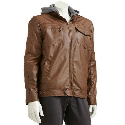 New Urban Republic Men's Faux-Leather Hooded Moto Jacket Tan Size L MSRP $140