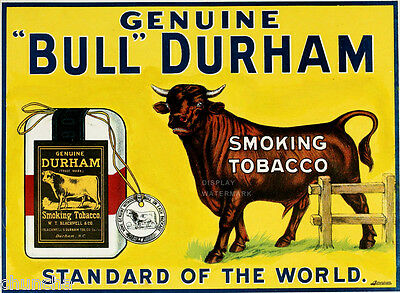 """Bull Durham sign  smoking tobacco 81/2"""" x 11""""  from 1910"""