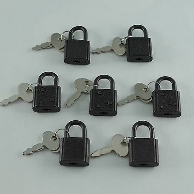 Old Vintage Antique Mini Padlock Mini Black Tiny Box Locks With keys(Lot of 7)