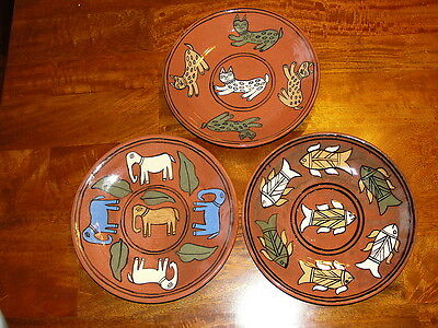 3 Handcrafted Folk Art  Elephants, Cats and Fish  Redware Plates Lot of Three