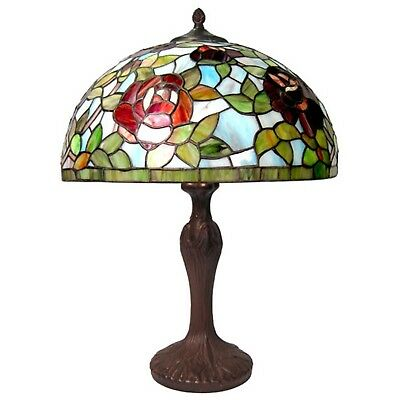 56Cm Tiffany Style Table Lamp Red Rose Glass Shade 40Cm Free Light Bulbs