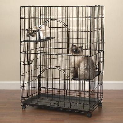 Cat Animal Pet Cage Foldable Wire Cage Two Perches -Black