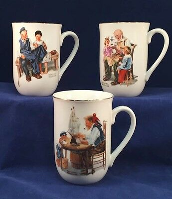 Lot Of 3 - Norman Rockwell Museum Cups 1982 - Lighthouse Toymaker A Good Boy
