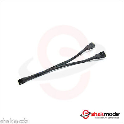 Shakmods 3 pin Fan Y Splitter 20cm Black Sleeved Extension Cable UK First Class