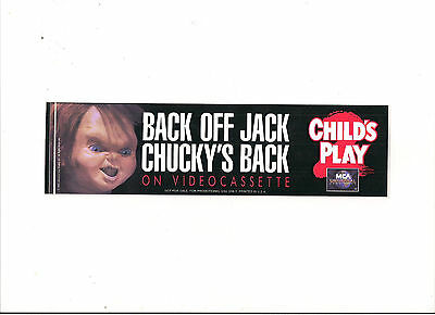 CHILD'S PLAY 2 - CHUCKY Promotional1990 Bumper Sticker - FREE SHIPPING - New!!!