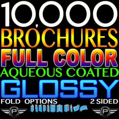 "10000 Brochures 8.5"" X 14"" Full Color Double Sided 100Lb 8.5X14 Glossy Folded"