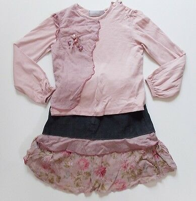 6y BERLINGOT girls french designer pink top and black coordinating skirt outfit