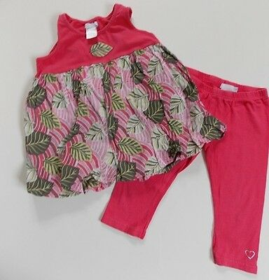 fits 4-5y LOFF girls designer summer tunic top & pink cropped leggings (6y)