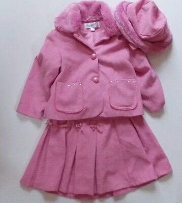 5y COUCHE TOT girls designer winter pink  skirt, coat and hat outfit set