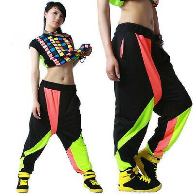 Kids Adult patchwork sweatpants sports Trouser Costume Harem Hip Hop dance pants