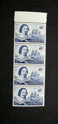 AUSTRALIA 1966 ABEL TASMAN 40c STRIP OF 4 MINT NH