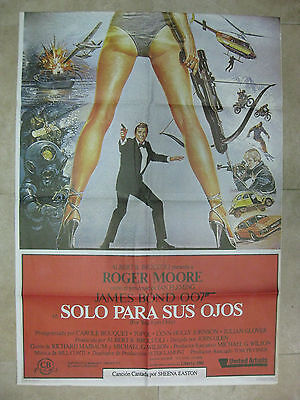 1984 For Your Eyes Only JAMES BOND 007 ROGER MOORE Spanish original poster