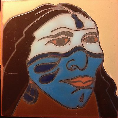 Beautiful Native Face Decorative Tile signed J Hearn Bisbee 6 X 6 Great Colors