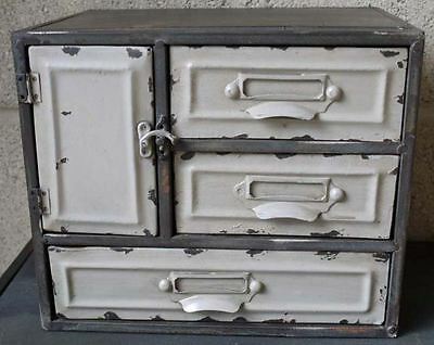 Small Industrial Vintage Retro Style Metal Cabinet & 3 Drawers