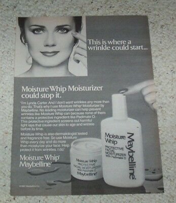 1983 ad page - Maybelline Moisture Whip sexy LYNDA CARTER beauty vintage AD PAGE