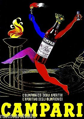 Campari l' aperitivo Liqueur Italy Vintage Wine Advertisement Art Poster 2