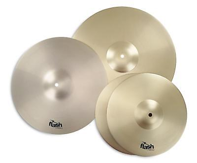 "4x PIATTI BATTERIA ACUSTICA 13"" CHARLESTON HIHAT 16"" CRASH 18"" RIDE CYMBAL SET"