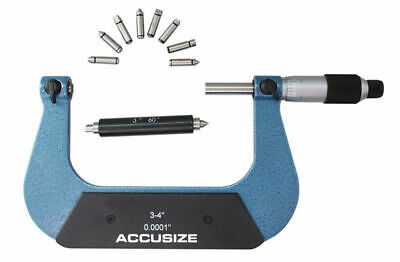 """3-4""""x0.001"""" Screw Thread Micrometer Including 4 Anvil in Fitted Box, #S916-C753"""