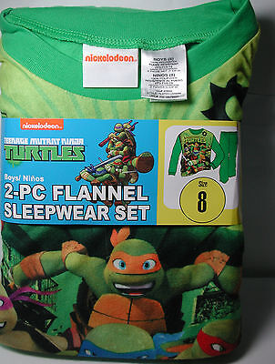 Brand New Boys NINJA TURTLES 2 piece Flannel Pajamas Sleepwear Set Size 8
