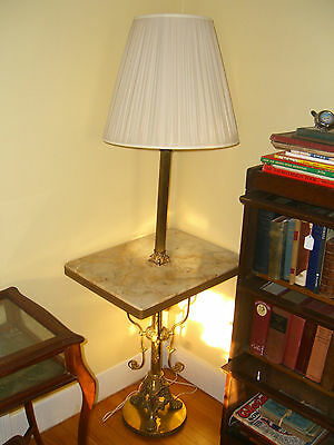 Antique Marble and Brass Side Table with Lamp. c. 1900