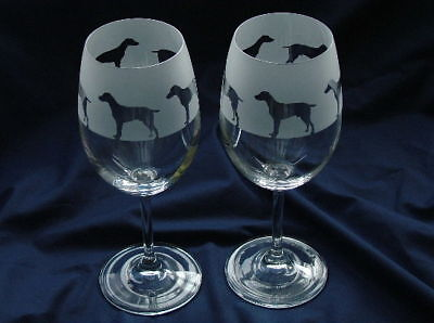 Weimaraner Wine Glasses.By studio Glass in the Forest.