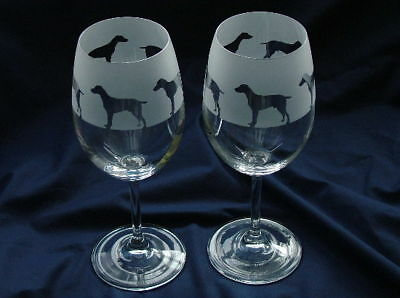 Weimaraner Wine Glasses.By studio Glass in the Forest...Boxed
