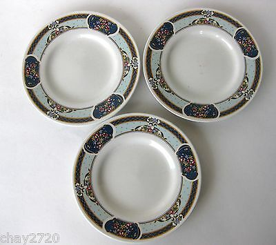 VTG  SET OF 3 PCS. PORCELAIN SAUCERS – BLUE FLORAL AND SCROLLS BAND BY GIBSON