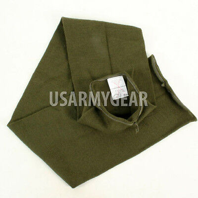 "USA Made Army USMC Military Winter Neckwear OD Green Wool Double Knit 46"" Scarf"