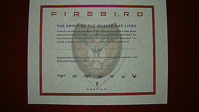 "2002 Trans Am / Firebird ""LAST OF THE BREED"" Commemorative Certificate"