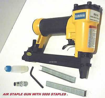 AIR POWERED STAPLE GUN (80/16) WITH A BOX OF 5,000 STAPLES (10 mm )- NEW.