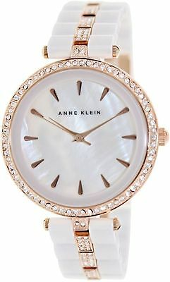 Anne Klein Rose Crystal-Accented White Ceramic Ladies Watch AK-1444WTRG NEW!