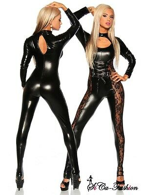 Sexy Glanz Overall Catwoman Wetlook Fetisch Domina Catsuit Spitze Lack Gothic