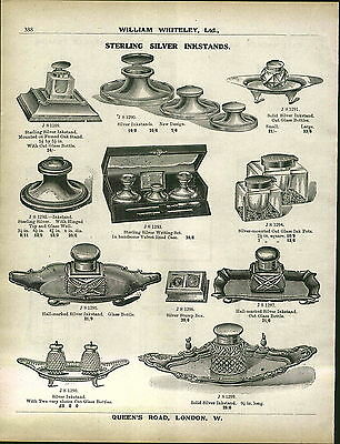 1913 ADVERTISEMENT Sterling Silver Inkstand Ink Well Desk Set Cut Glass
