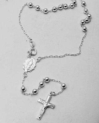 Solid 925 Sterling Silver 4mm Beads Rosary Necklace Complete Mystery 24 inches