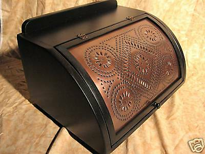 Antiqued copper punched wooden vintage bread box LBCD. Always made in America!