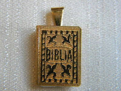 Antique Golden Metal Medal Charm Tiny Holy Bible