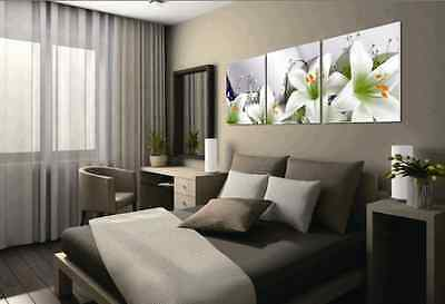 3 Panels Wall Painting White Lily Flower Home Decor Art Picture Canvas Prints