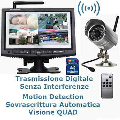 Kit Videosorveglianza Dvr Recorder 8 Gb Con Monitor Telecamera Esterno Wireless