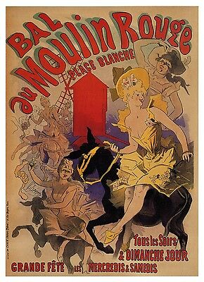 "print  poster for your glass frame 36"" x 24"" vintage Moulin rouge painting art"