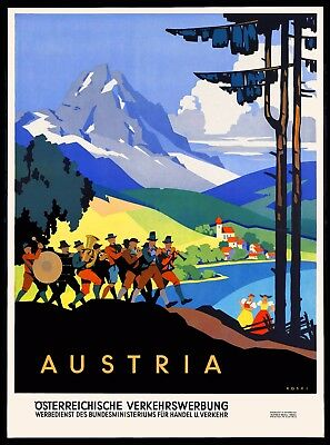 1920s Austria Austrian Europe European Travel Art Poster Advertisement