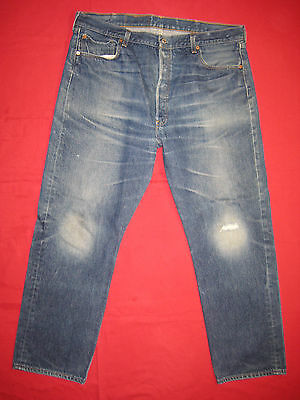 D7485 frayed holes levi's 501 blue jeans 42x33 used destructed made in the U.S.A