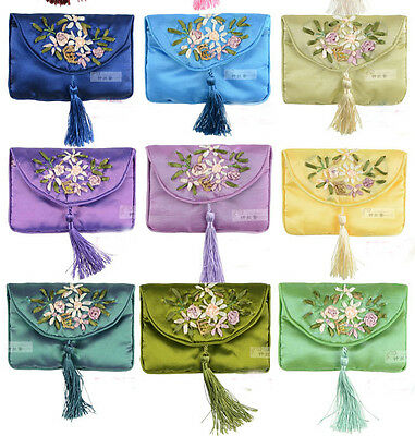 WHOLESALE 10 PCS SILK EMBROIDERED COSMETIC BAGS pouch wallets