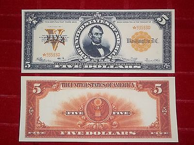 Nice Looking Crisp Unc. 1922 $5.00 Gold Certificate Copy
