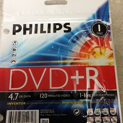10-pk Philips branded 16x DVD+R Blank Recordable 4.7GB Media Disk DR4S6Z01A/17